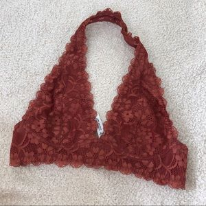Free people halter bralette rust small
